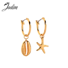 Joolim Shinny Gold Color Shell Star Hoop Earring 2 in 1 Convertible Earring цена
