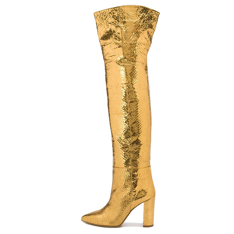 Sexy Women's Boots Pointed Toed Gold Snakeskin Leather Over-the-knee Boots Square Heel Rome Shoes Woman Booties Botas De Mujer