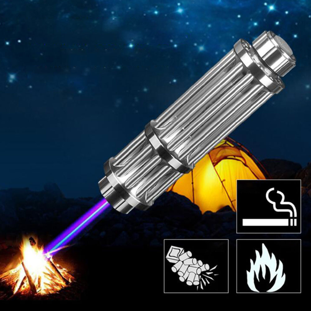 Silver High Power 10000m Green Blue Laser Pointers Pen 450nm 532nm Lazer Flashlight Burning Hunting Zoomable Beam Light Gifts
