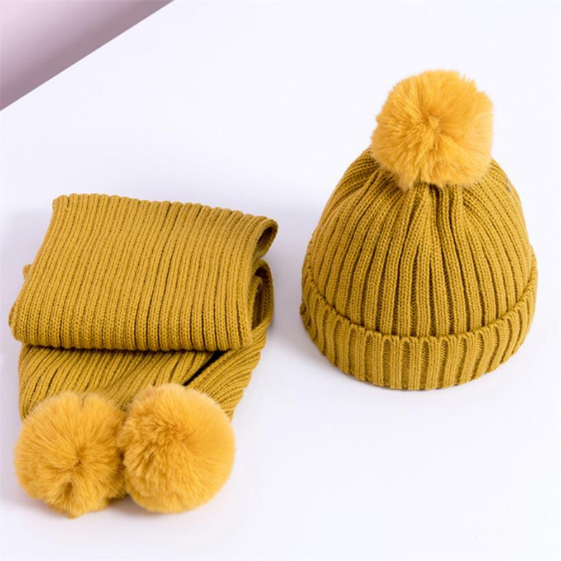 2019 Kids Winter Warm Hat And Scarf Child Short Plush Inner Cute Hat 2 Piece Set Baby Ear Protection Cap With Pom Pom Scarves