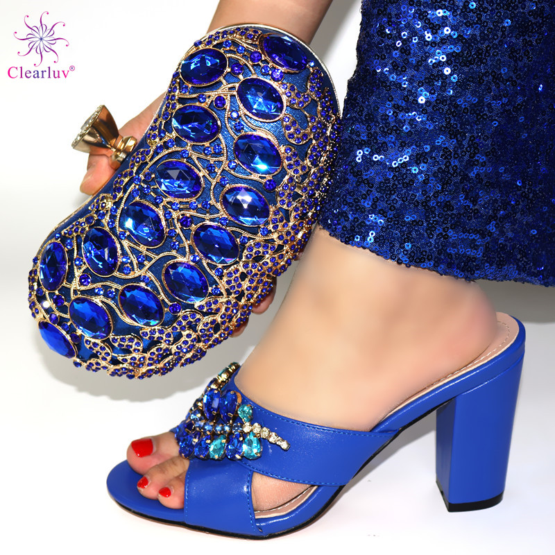 Blue Shoe With Matching Bags Shoe And Bag Set For Party In Women Italian Matching Shoe And Bag Set With Stones