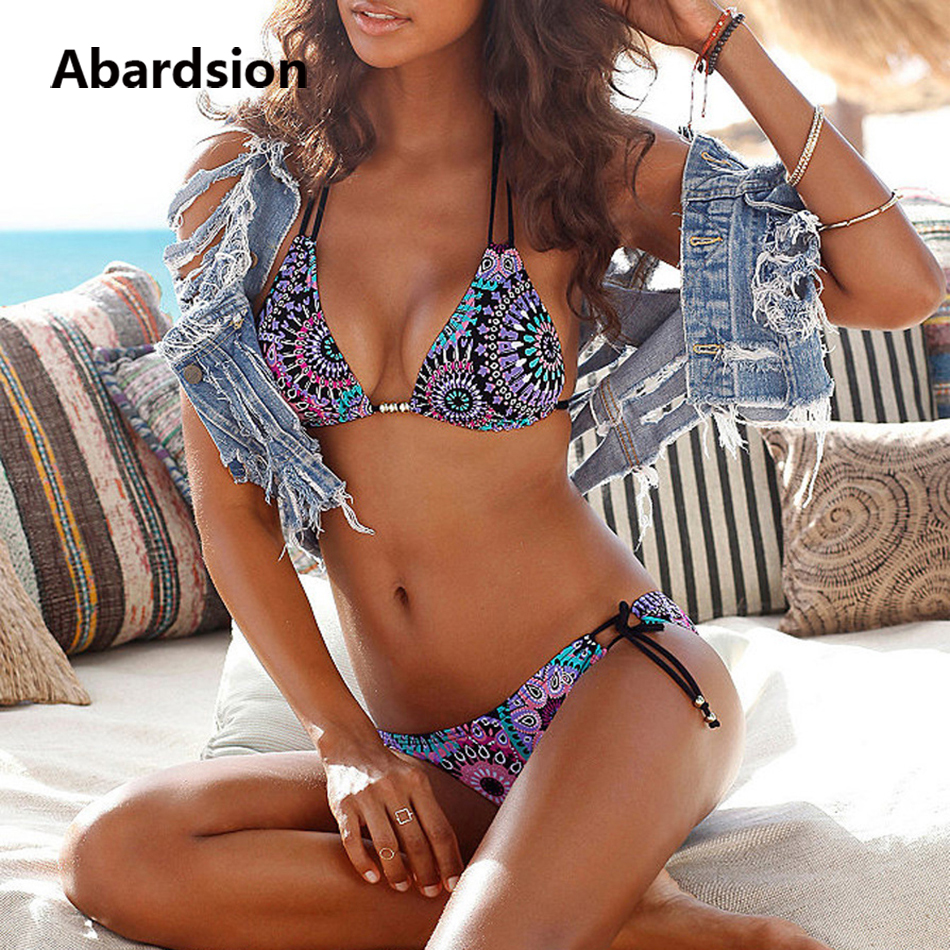 Abardsion Women's Sexy Triangle Bikini Sets 2020 Bathing Suits Lace Up Tie Side Swimwear Bottom Retro Print Two Piece Swimsuits
