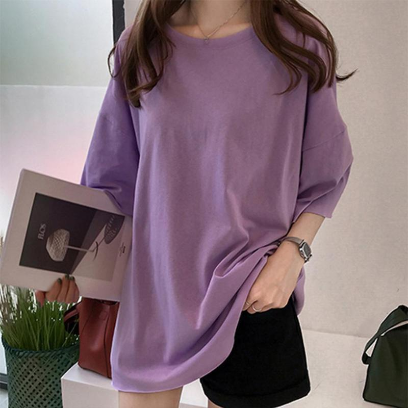 Women O-neck Half Sleeve Purple T-shirt Spring Autumn Long Section Solid Color Loose Tops Female Ladies Round Collar Casual Tees