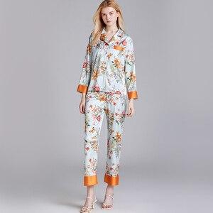 Image 3 - JULYS SONG Faux Silk Satin Pajamas Set 2 Piece Women Spring Flower Plant Printing Long Sleeve Sleepwear Pajamas Suit Home wear