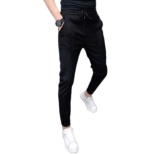 Fashion Korean Solid Joggers Men High Quality Autumn Winter Thick Pants Men Slim Fit Drawstring Mens Casual Pants Black/Gray 36 6