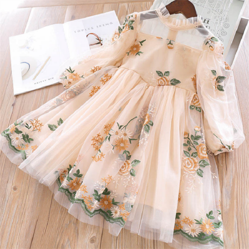 Платья для девочек на новый год Милая Цветочный принт одежда для свадьбы, дня рождения рождественское платье Детская одежда для детей на во...