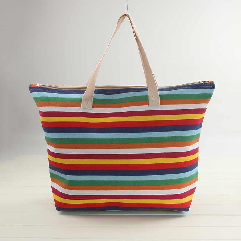 環境にやさしい女性のショッピングバッグ多目的レディ大容量ストライプキャンバスショッパートートハンドバッグクロスボディビッグ女性バッグ