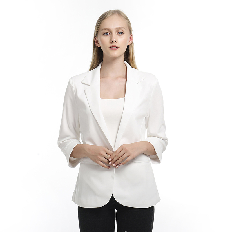 Blazers Women Elegant Blazer 3/4 Sleeve Small Suit Open Front Short Cardigan Suit Jacket Work Office Coat Outwear Blouson