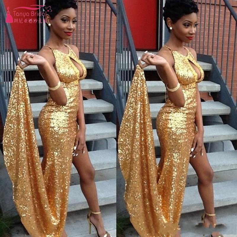2019 New Black Girl Arrival High Side Slit Open Bust Sexy Sleeveless Gold Sequined Mermaid Halter Neck   Prom     Dresses   W024