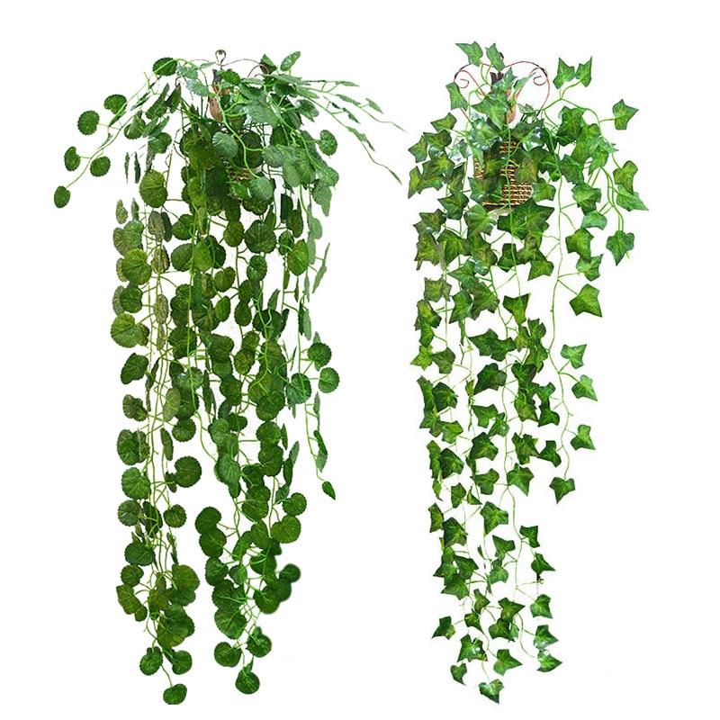 2.3m Artificial Ivy green Leaf Garland Plants Vine Fake Foliage Flowers Home Decor Plastic Artificial Flower Rattan String|Artificial & Dried Flowers|   - AliExpress