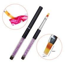 1p escova do prego arte do prego pintura caneta escova uv gel polonês gradiente strass cristal acrílico prego desenho caneta prego ombre