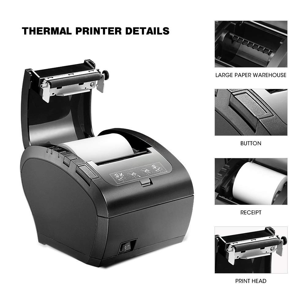 Image 3 - GZ8002 80mm Thermal Receipt Printer Automatic cutter Restaurant Kitchen POS Printer USB+Serial+Ethernet Wifi Bluetooth printer-in Printers from Computer & Office