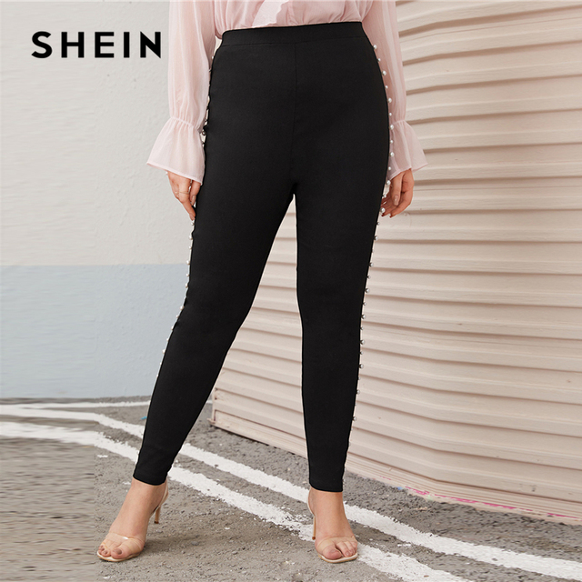 SHEIN Plus Size Pearl Embellished Black Skinny Pants Women Autumn Spring Solid Elegant Long Fitted Trousers Pencil Pants 3