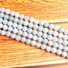 Aquamarine Dark Natural Stone Bead Round Loose Spaced Beads 15 Inch Strand 4/6/8 / 10mm For Jewelry Making DIY Bracelet Necklace