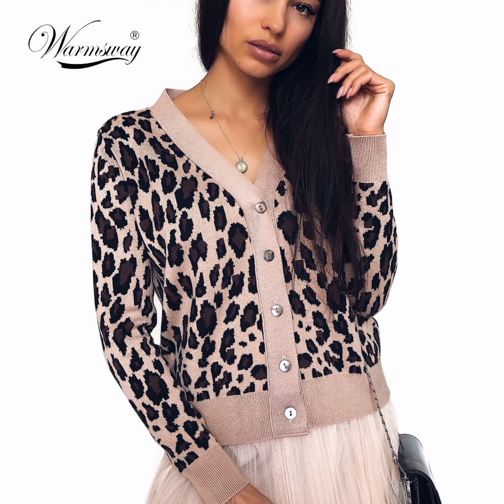 Vintage Leopard Print Women Knitted Cardigan Sweater V-neck Buttons Short Cardigan Jumper Casual Female Ladies Outwear  C-323