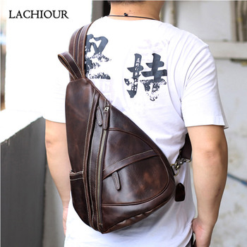 LACHIOUR  Men's Genuine Leather Chest Bag Men Large Business Shoulder Bag Fashion Travel  Sling Daypack Crossbody Bags Male bullcaptain 019 genuine leather bag men chest pack travel brand design sling bag business shoulder crossbody bags for men