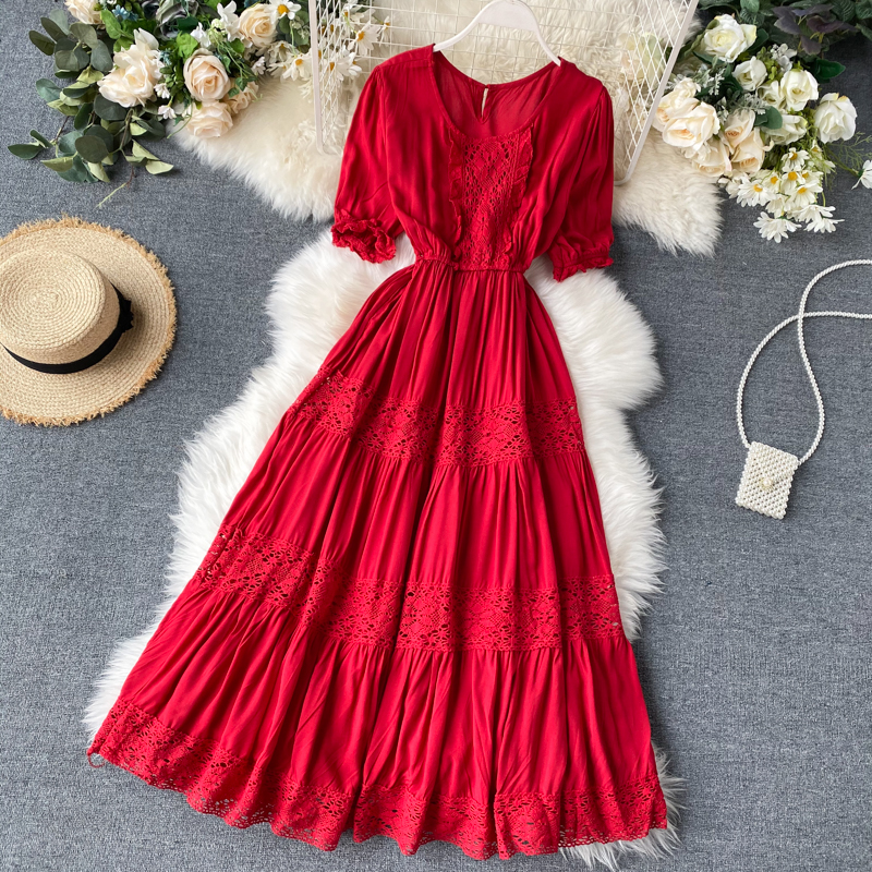 Chic Women's Sweet Lace Stitching Thin Travel Holiday A-line Elegant Dress Lady Round Neck Short Sleeve Vestidos K525