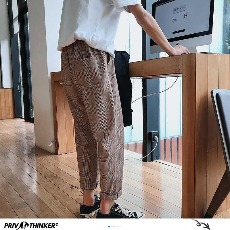 Privathinker男性女性韓国黒のチェック柄カジュアルパンツ 2020 メンズストリートハーレムパンツ男性市松ズボンプラスサイズ
