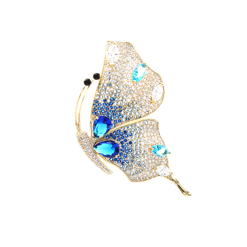 Vitage Style AAA Zicon Brooch Pin for Women's Copper Inlaid Gold Pins Clothes Scarf Buckle Garment Accessories Fine Jewelry Gift-0