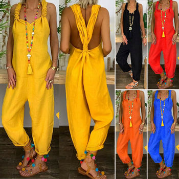 2020 Women Casual Solid Strappy Dungarees Vintage Cotton Linen Loose Rompers Party Long Harem Overalls Jumpsuits