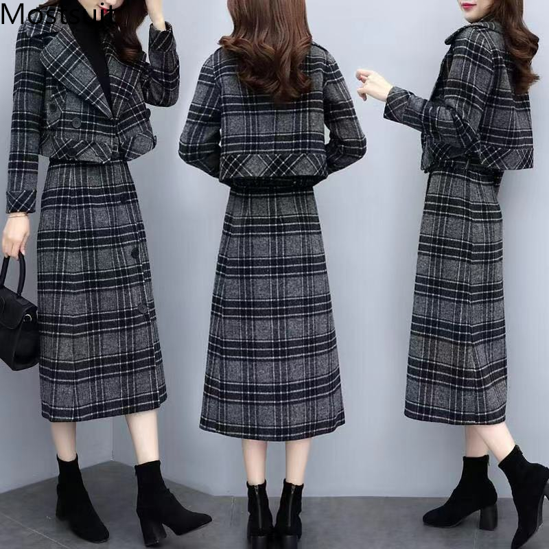 Plaid Woolen Two Piece Sets Outfits Women Plus Size Short Coat And Long Skirt Suits Autumn Winter Elegant Office Korean Sets