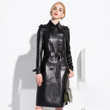 Lautaro gabardina larga de cuero negro para mujer con cinturón de manga larga con doble botonadura de talla grande vintage abrigo estilo británico 6xl 7xl