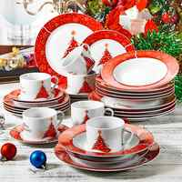 VEWEET 30 pièces motif de noël porcelaine ensemble de vaisselle avec 6 * tasse, soucoupe, assiette à Dessert, assiette creuse, assiette à dîner ensemble cadeau