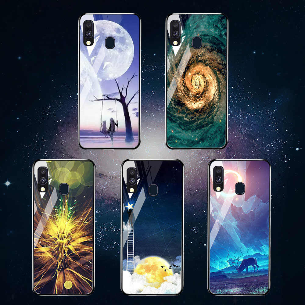 Чехол из закаленного стекла для samsung Galaxy A40 A70 A50 A30 A20 A60 Case Star Space Bumper samsung A7 A6 A8 Plus 2018