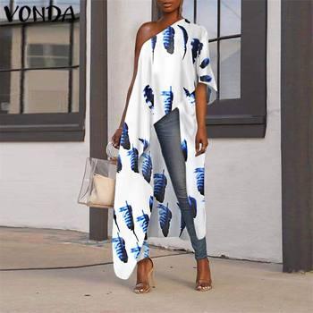 Party Shirts 2020 VONDA Summer Women Long Blouse Off Shoulder Printed Tunic Female Casual Asymmetric Tops Plus Size Blusas цена 2017