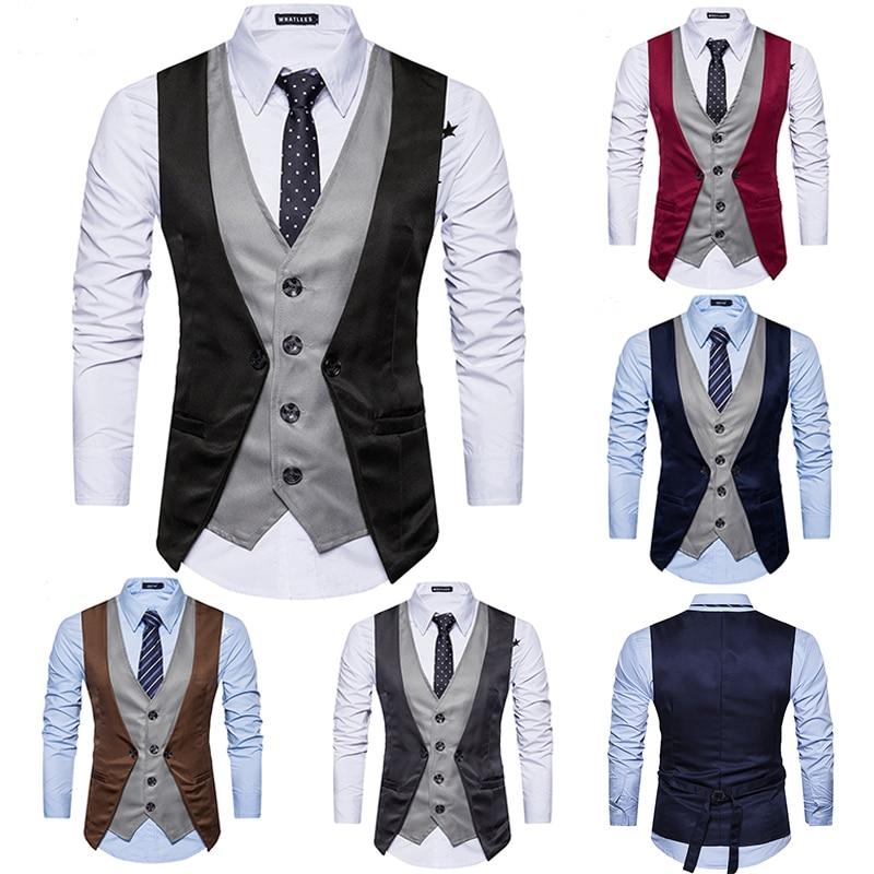 Men Vest 2019 Brand Fashion Fake Two Piece Patch Waistcoat Casual Slim Business Social Suit Vest Groom Plus Size