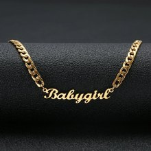 лучшая цена Cuban Chain Customized Nameplate Necklaces for Women Personalized Custom Name Necklace