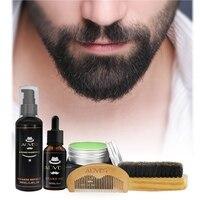 Hot ALIVER Men Moustache Cream Beard Oil Shampoo Kit With Moustache Comb Brush Storage Bag For Gentleman
