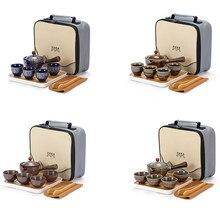 Zestaw filiżanek do herbaty chiński zestaw do herbaty ceramiczna herbata Kung Fu kubek czajniczek z torbą do parzenia herbaty przenośna podróż na zewnątrz herbata serwis narzędzia kubek