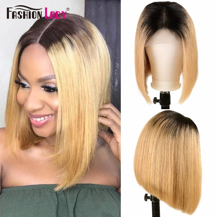 Fashion Lady Lace Front Human Hair Wigs Straight Brazilian Remy Hair Ombre Honey Blonde Bob Wigs For Black Women Bleached Knots