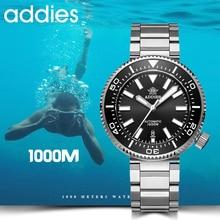 2019 nowych moda zegarek ze stali nierdzewnej zegarek dla nurka 1000M wodoodporne szafirowe szkło ceramiczna ramka szkiełka zegarka niebieski luminous