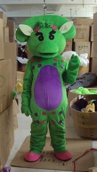 Traje de mascota Barney rosa amarillo verde dinosaurio fiesta de cumpleaños, Halloween vestido de Cosplay de lujo