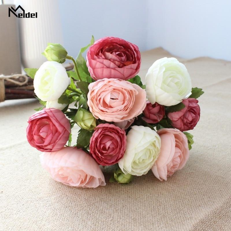 Meldel Artificial Silk Flower 10 Heads Tea Rose DIY Burgundy Bridal Bouquet Wedding Decoration Fake Rose Flower Home Table Decor