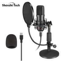 Kit de micrófono bm800 profesional, micrófono de condensador USB para juegos con filtro de soporte plegable para grabación en Streaming de vídeo de PC