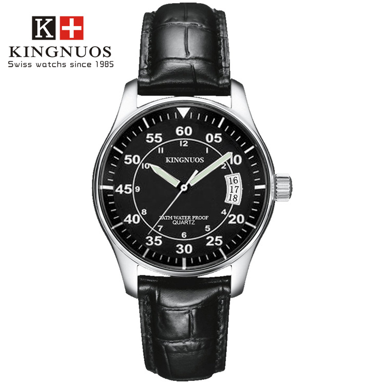 KINGNUOS Mens Watches Genuine Brand Fashion Waterproof Classic Business Casual White Collar Wristwatches Relogio Masculino