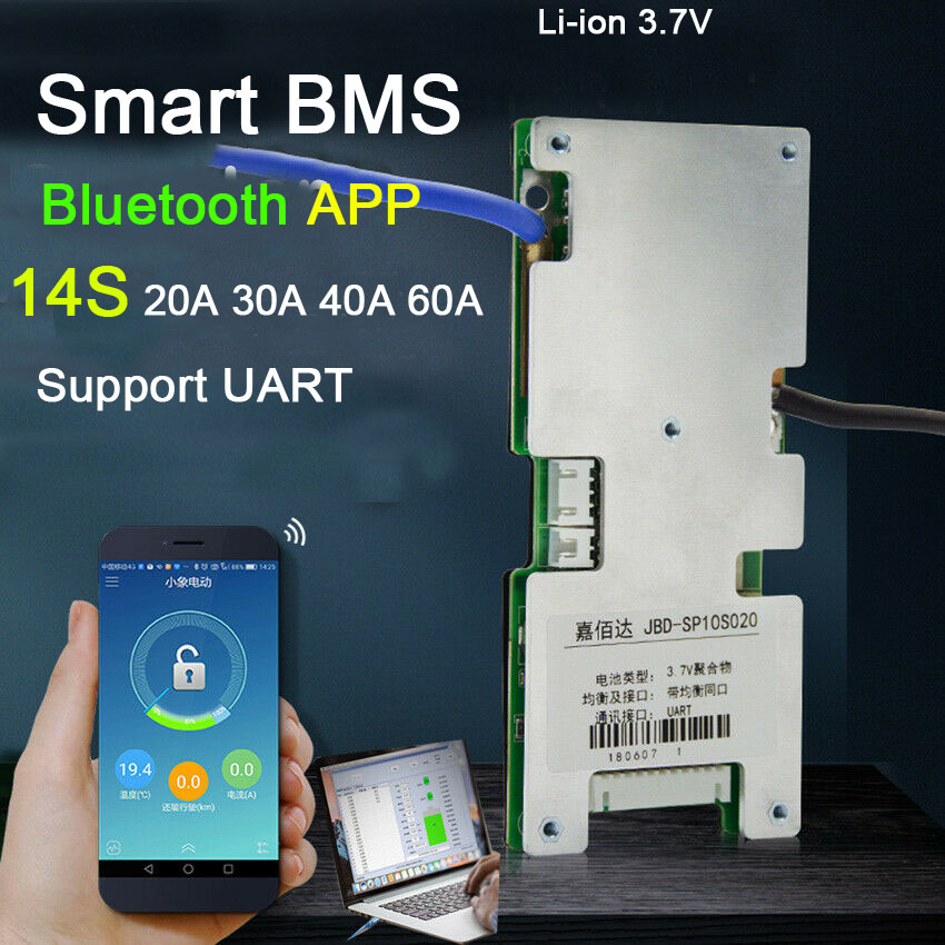 Smart BMS 14S 48V 60A 40A 30A 20A Li-ion Liion Lithium Battery Protection Board Balance BMS Liion PHONE Bluetooth APP PC Monitor