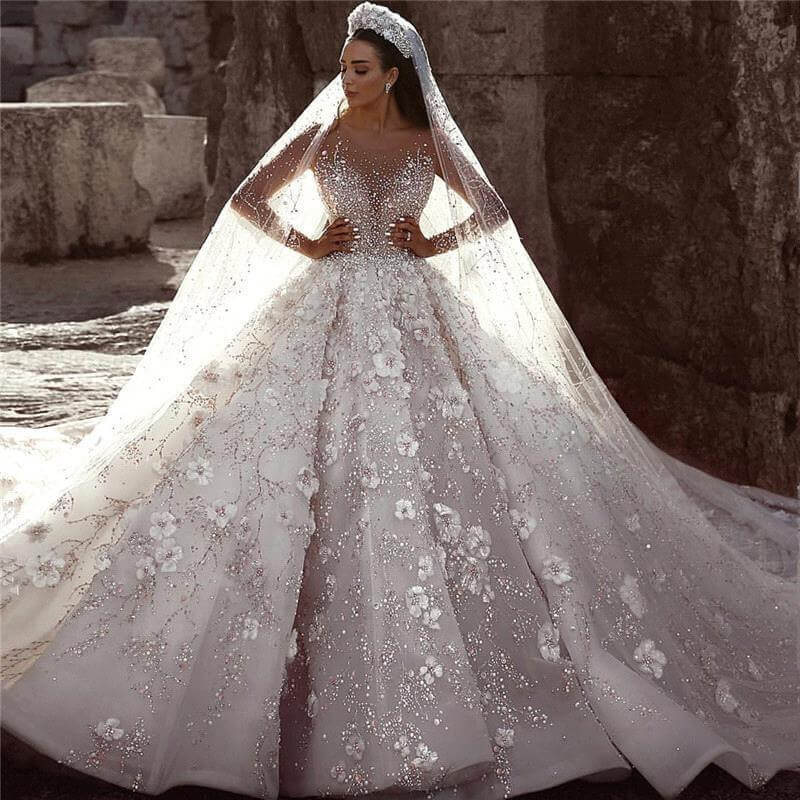 Arabic Luxury Beaded Lace Wedding Dress Vestidos De Novia 2020 Long Sleeve 3D Floral Wedding Bridal Gowns Robe De Mariee Mariage