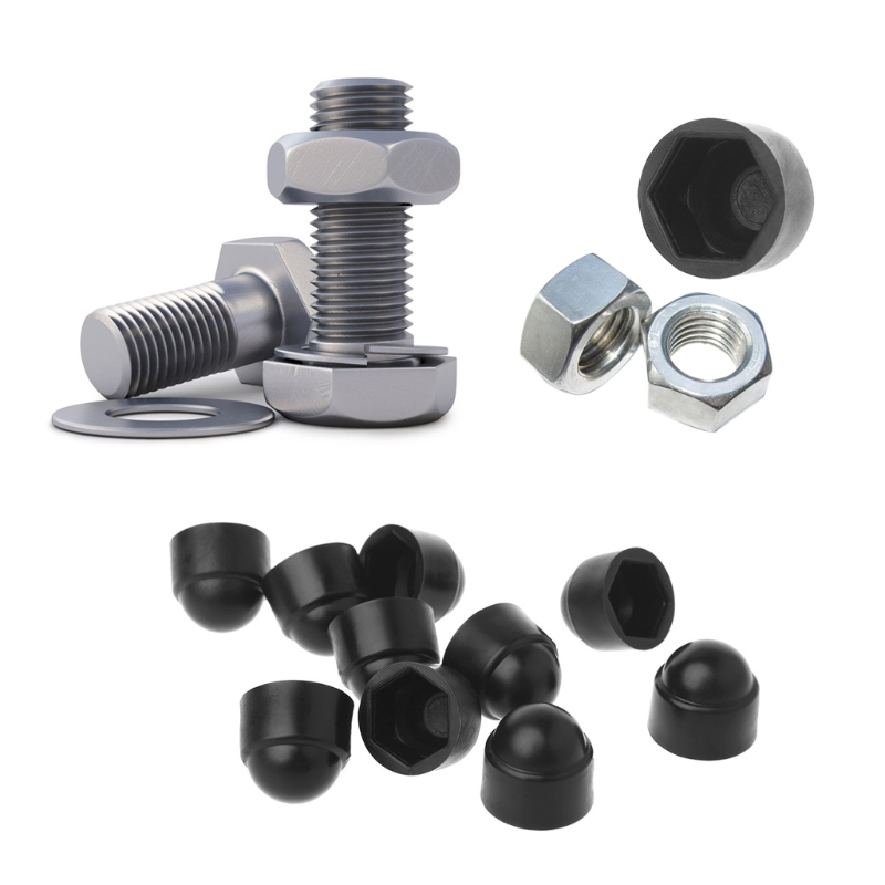 Motorcycle Bolt Cover Caps Kit Chrome Cover Caps M10 Pack of 10 Pcs
