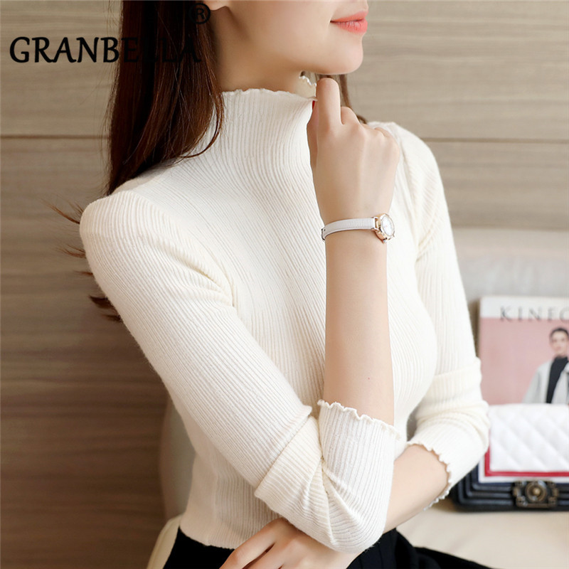 New Pullover Slim Fit Knit Sweater Winter Bottoming Clothes Turtleneck Long Sleeve Thin Pullover Solid Color Top For Office Lady