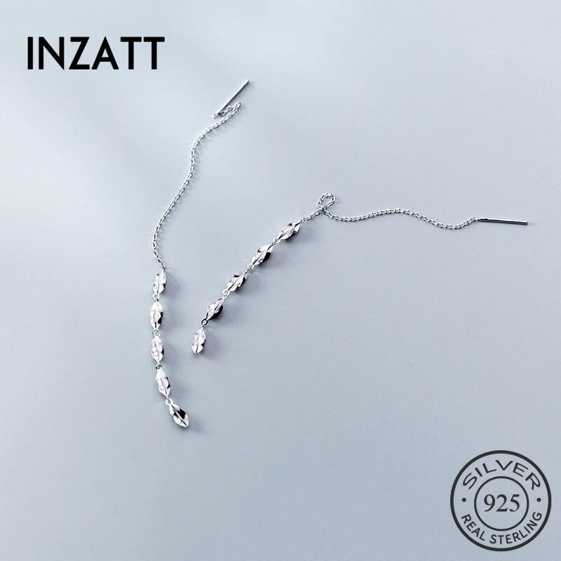 INZATT Real 925 Sterling Silver Zircon Chain Tassel Drop Earrings  For Fashion Women Birthday Party Fine Jewelry Accessories