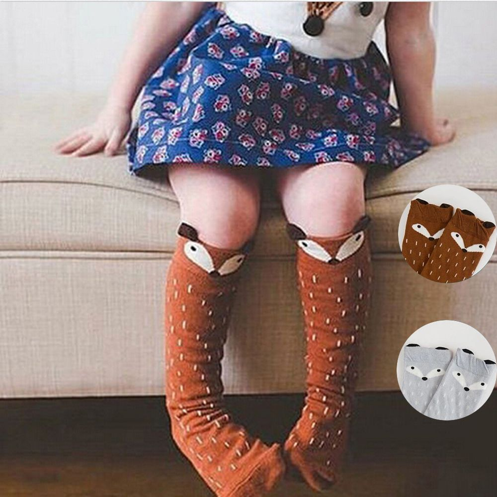 Baby Socks Knee High Long Leg Warmers Boy Girl Children Socks Fashion Cartoon Baby Socks Animal Print Fox Long Kids Socks