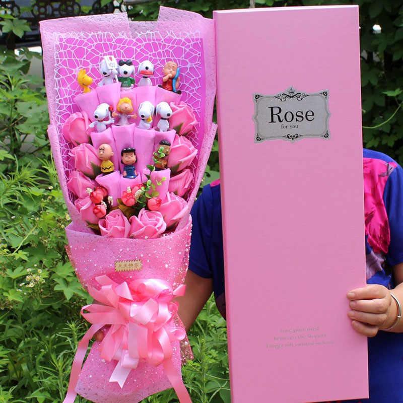 Adorável dos desenhos animados ponto snoopy boneca de pelúcia brinquedos snoopy pvc bouquet flores artificiais dia dos namorados festa de casamento decoração presente