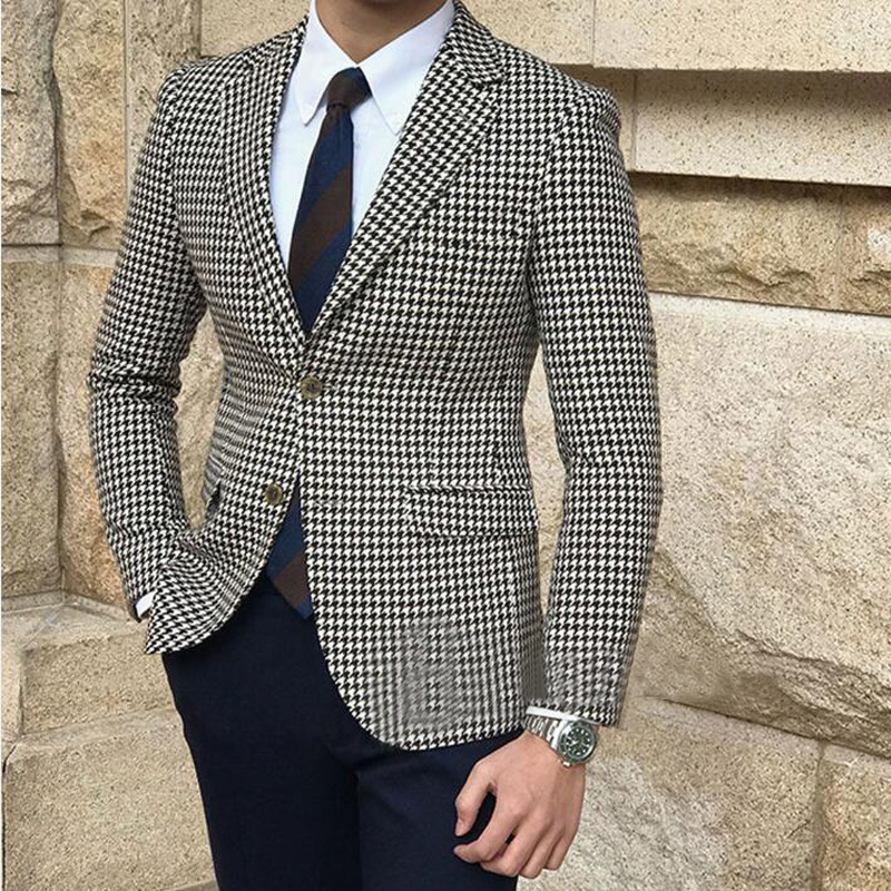 Houndstooth Men Suits For Wedding Party Dinner Wear Groom Tuxedos 2 Piece Slim Fit Best Man Suit Blazer With Black Pants
