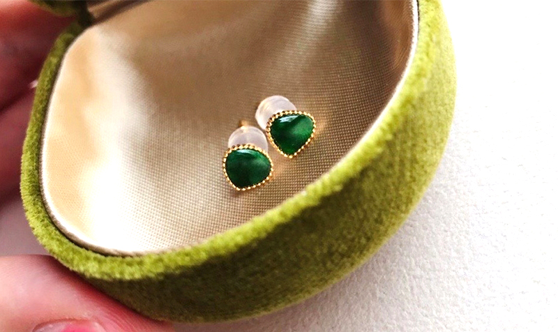 ANI 18K Yellow Gold Stud Earrings Natural Jade Earring Elegant Gemstone Jewelry for Women Birthday Gift Anniversary