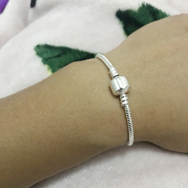 LMNZB With Certificate 100% Original 925 Sterling Silver Snake Chain DIY Charm Bracelet for Women Gift Silver 925 Jewelry LHB925 5