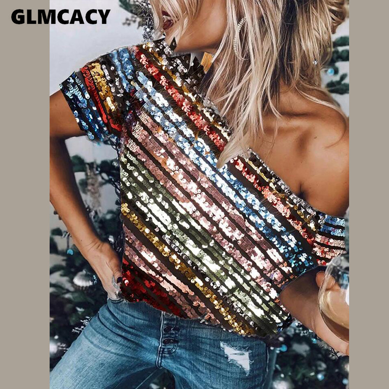 Frauen Skew Hals Kurzarm Gestreiften Pailletten Hemd Sommer Sexy Party T Shirt Chic Sparkly Tops